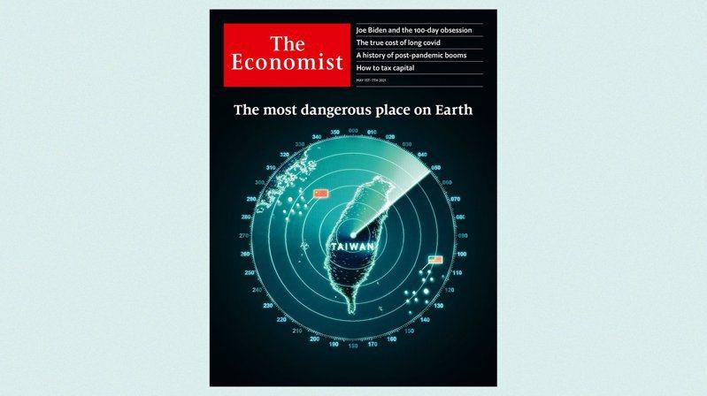 本期「經濟學人」以台灣雷達圖為封面,稱這是「地球上最危險地區」,指台海若爆發戰爭將成災難,美、中須極力避免。 圖/翻攝自twitter@TheEconomist