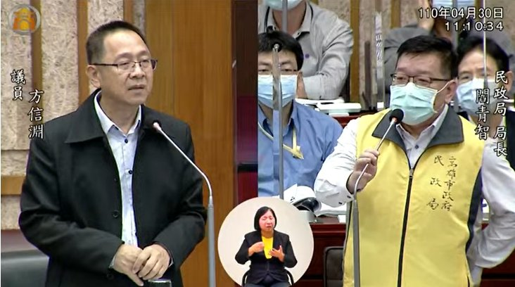 高市議員方信淵(左)要求台電的促協金應該成立管理委員會,促進回饋金專款專用。記者...