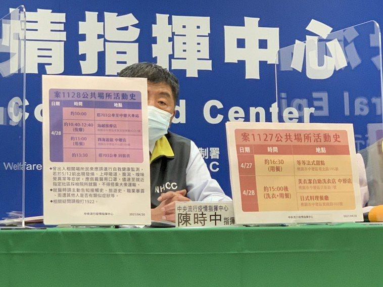指揮中心指揮官陳時中公布確診者足跡。記者陳碧珠/攝影