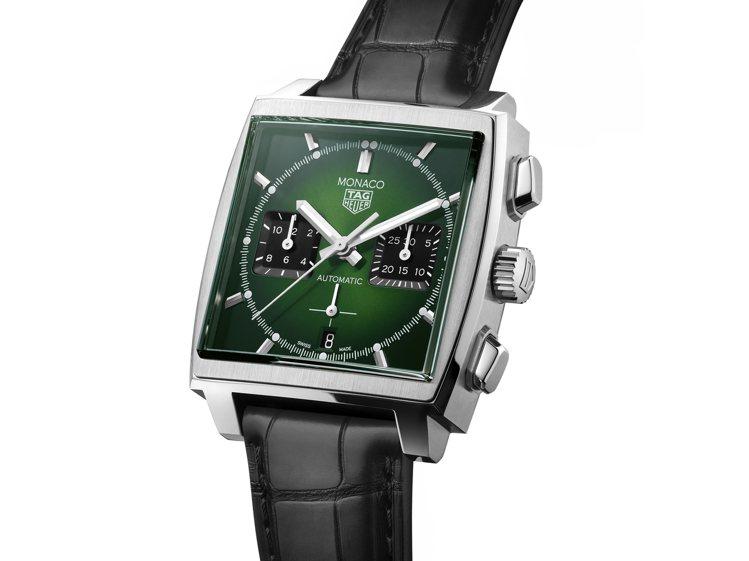 泰格豪雅Monaco自動計時碼表,不鏽鋼表殼,約21萬8,700元。圖/TAG ...
