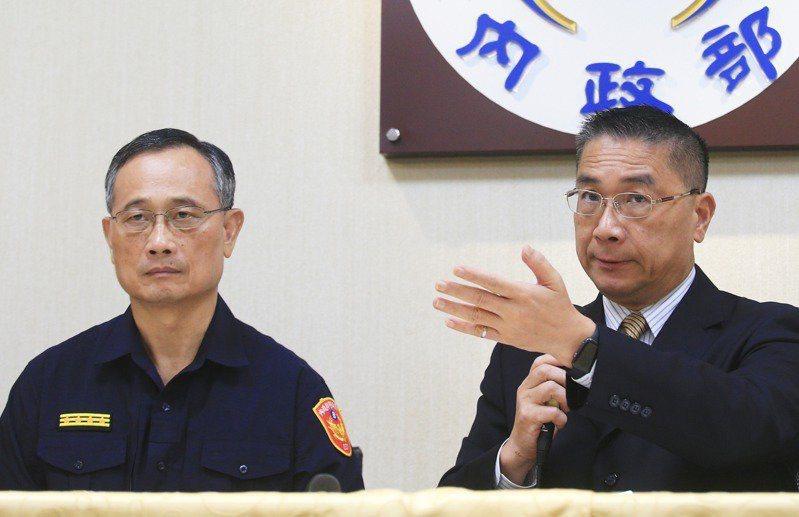 對於警界重大爭議「松山之亂」的處置,內政部長徐國勇(右)與警政署長陳家欽(左)不同調,同樣也暗藏民進黨派系角力。圖/聯合報系資料照片