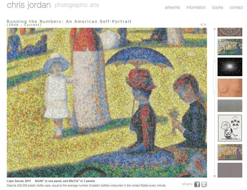 美國影像藝術家克里斯・喬丹(Chris Jordan)作品「秀拉的瓶蓋畫」(Caps Seurat, 2007)。 圖/擷取自http://www.chrisjordan.com/