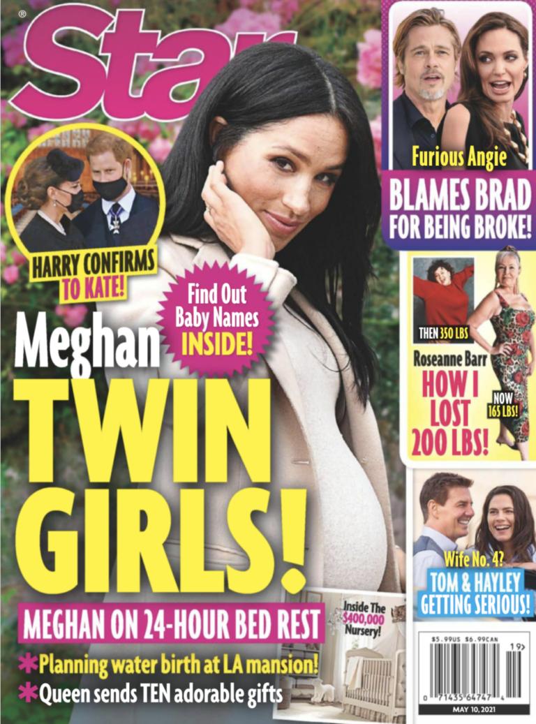 八卦雜誌以封面報導梅根其實懷了一對雙胞胎女兒,且哈利已親口告訴嫂嫂凱特。圖/摘自...