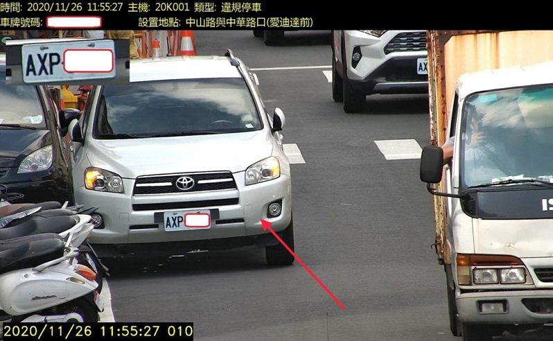 花蓮市中山路違停嚴重,警方建置科技執法設備,5月15日啟用。圖/警方提供