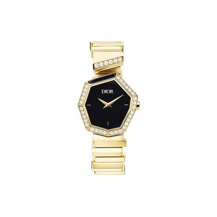 GEM DIOR黃金鑽石與黑瑪瑙表盤腕表,120萬元。圖/DIOR提供