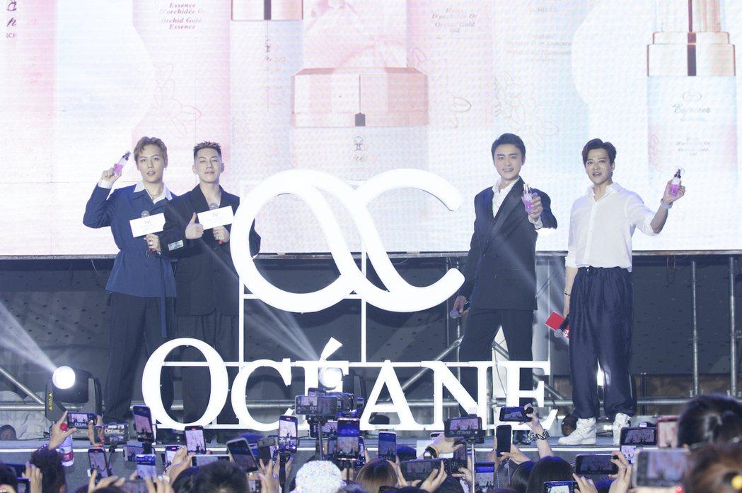 陳曉東(右起)明道、卡斯柏、劉維出席明道自創保養品牌新品發佈會。圖/歐希納提供