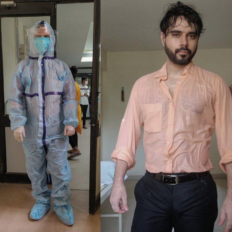 印度醫師穿著防護衣一整天,全身都已濕透。圖/取自推特