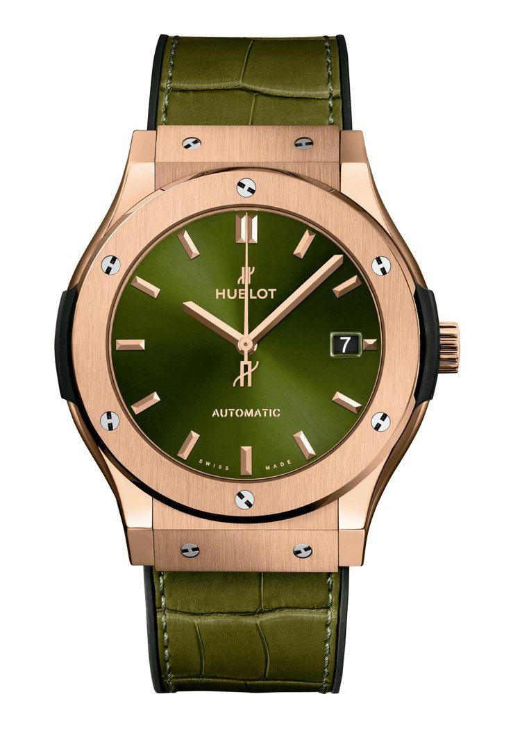 經典融合系列皇金綠面腕表,73萬元。圖/宇舶表提供