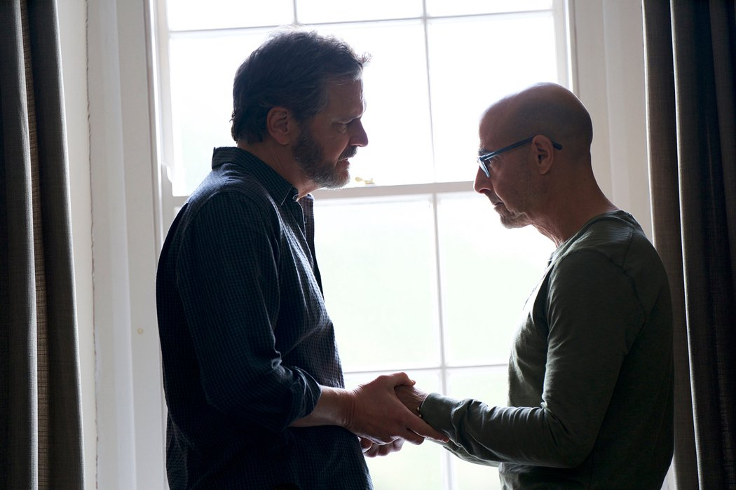 柯林佛斯(左)與史丹利圖奇在「永遠的我們」扮演一對同志戀人。圖/CATCHPLAY提供