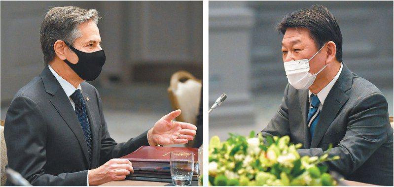 美國國務卿布林肯(左圖)和日本外相茂木敏充(右圖)三日在倫敦會面,重申維護台灣海峽和平穩定的重要性。 (美聯社)