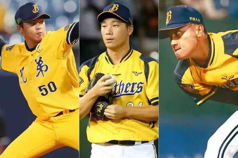 中信兄弟牛棚有4勝的蔡齊哲(左)、7中繼的吳俊偉(右),再加上終結者李振昌(中),穩定的表現讓他們有更多贏球機會。 聯合報系資料照片
