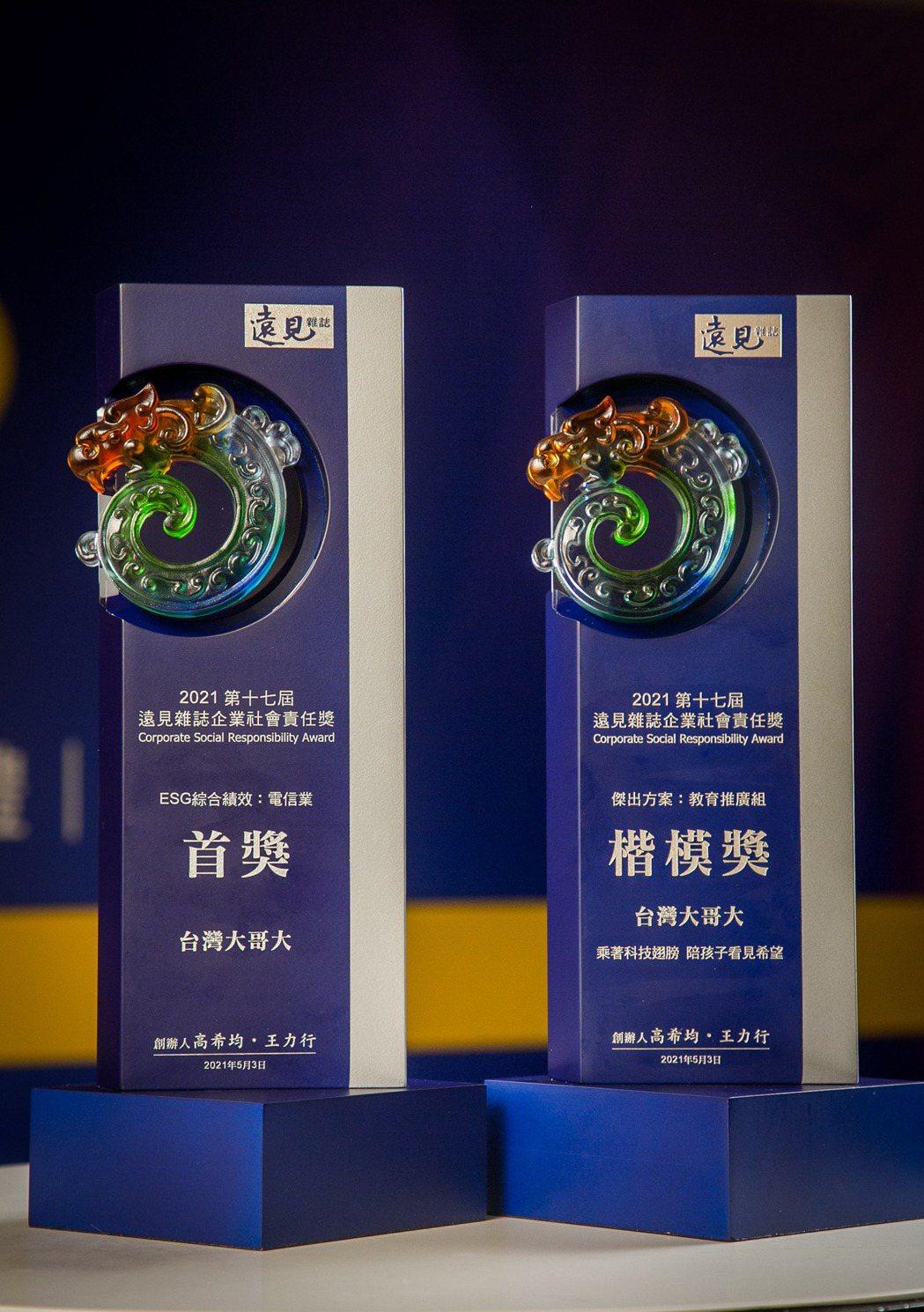台灣大哥大蟬聯三年拿下ESG綜合績效『首獎』,同時拿下傑出方案-教育推廣組「楷模...