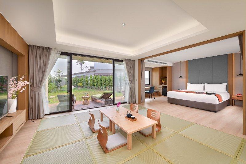 宜蘭綠舞「豪華庭園Villa」坐擁獨立和風設計庭園,旅展價下殺37折。 綠舞/提...