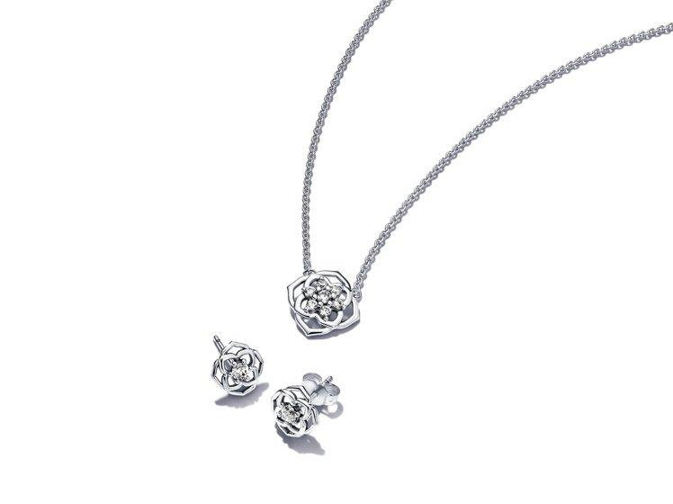 PANDORA璀璨玫瑰項鏈耳環套組,3,980元。圖/PANDORA提供