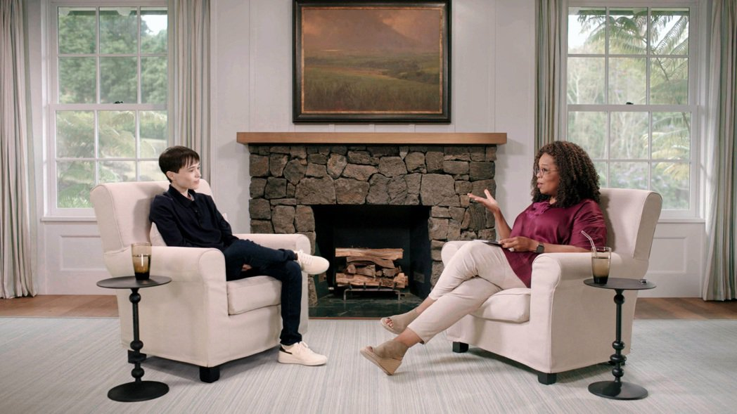 艾略特佩吉(左)登上歐普拉(右)的新節目,暢談手術變性的心路歷程。圖/Apple