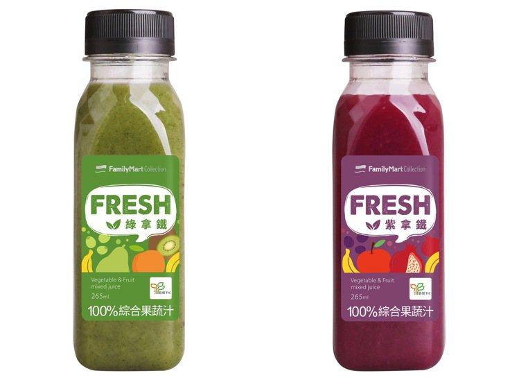 全家自有品牌FMC推出符合Clean Label認證的綠拿鐵、紫拿鐵,售價48元...