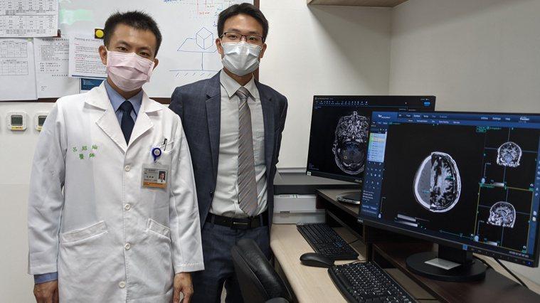 台大醫院放射腫瘤科主治醫師呂紹綸(左)、醫隼智慧執行長呂任棠。記者邱宜君/攝影