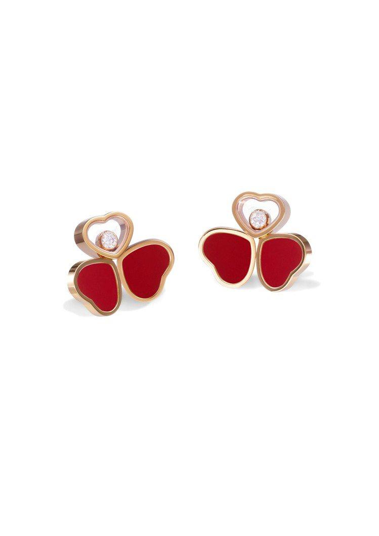 Happy Hearts Wings系列耳環,獲公平採礦認證18K玫瑰金鑲嵌紅色...