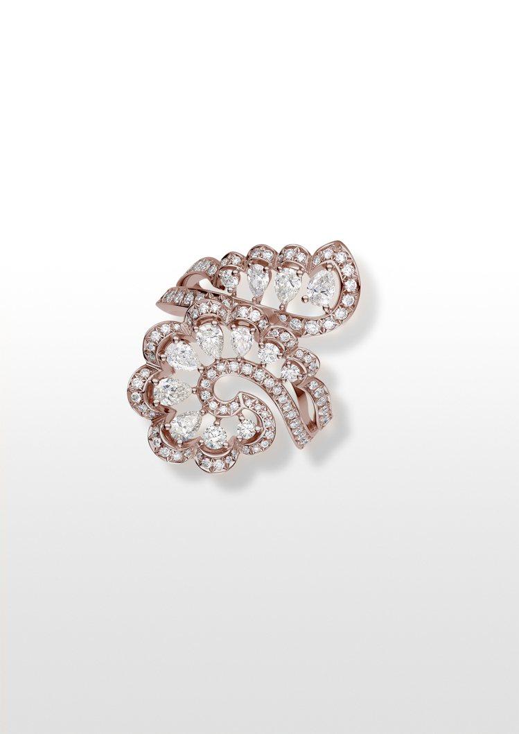 Precious Lace系列Vague海浪戒指,獲公平採礦認證之18K玫瑰金鑲...