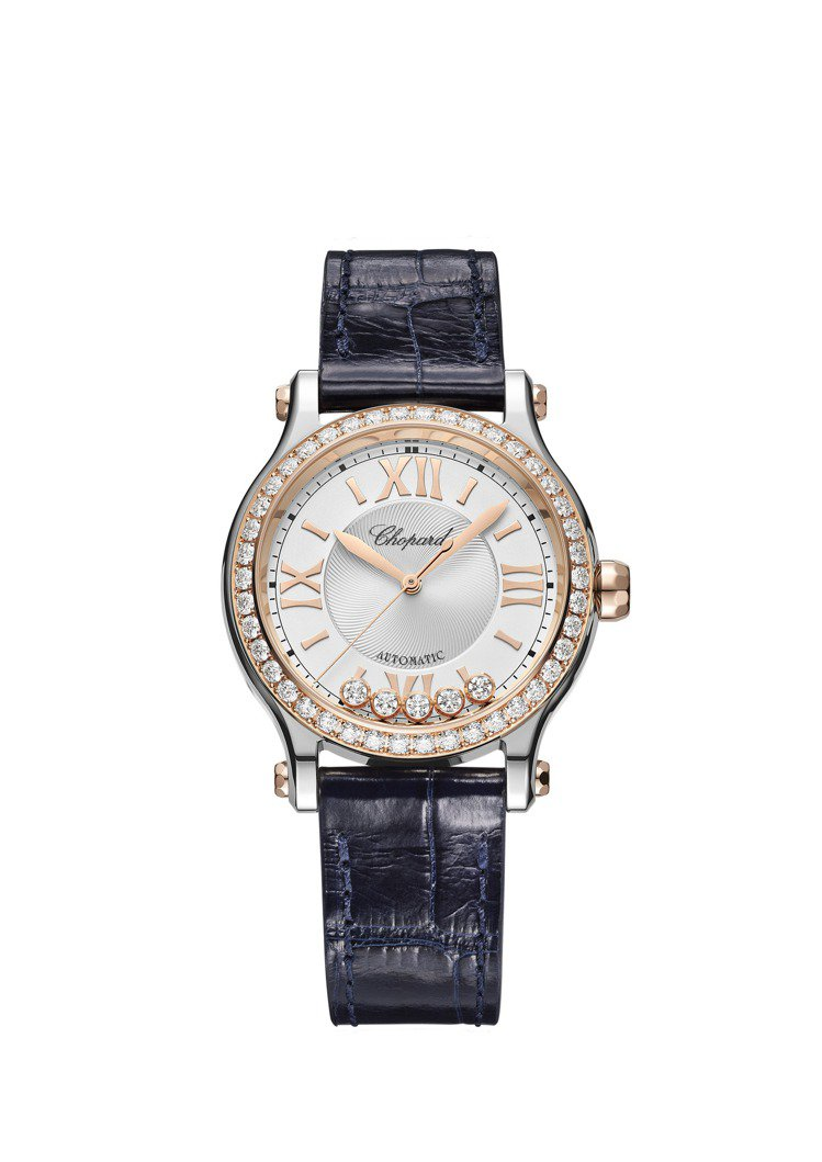 Happy Sport 33精鋼和獲公平採礦認證之18K玫瑰金鑲鑽自動腕表,58...