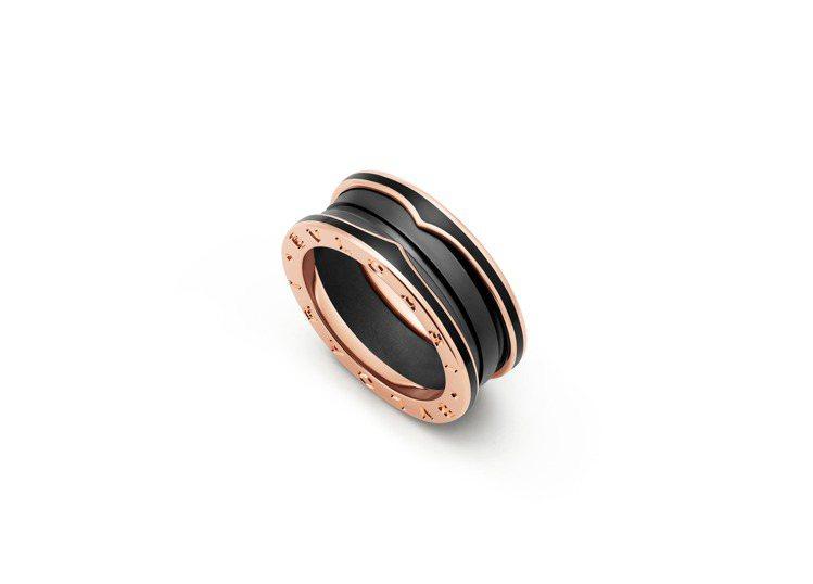 BVLGARI B.zero1系列玫瑰金啞光黑陶瓷雙環戒指,約51,700元。圖...
