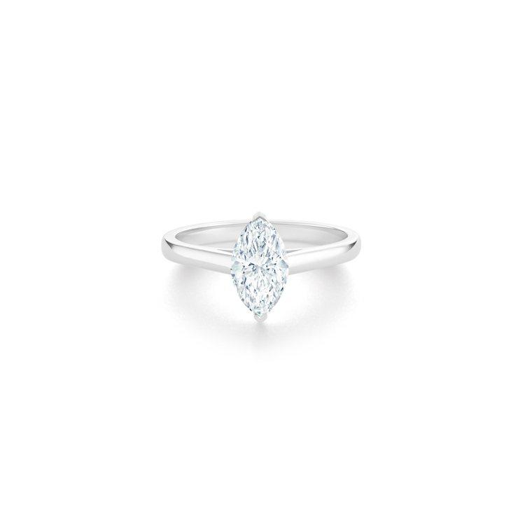 DE BEERS DB Classic 欖尖形切割鑽石戒指,主鑽1克拉起,約41...