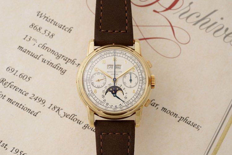 富藝斯「名表薈萃-日內瓦XIII」將上拍的百達翡麗型號2499第一代腕表。圖/富...