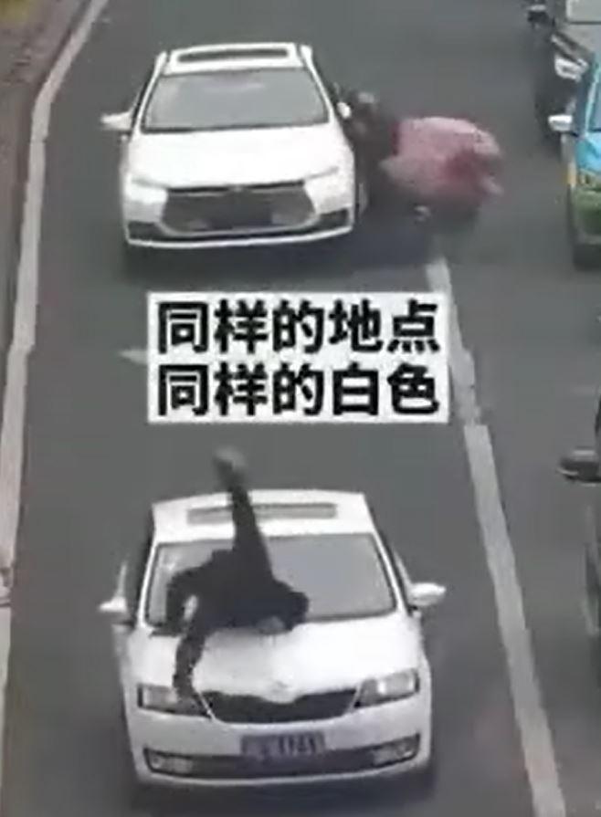 網友在臉書分享一段影片,大陸一名婦人騎車要過馬路,但她在長長的車陣當中直接橫越,...