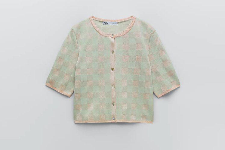 與金裕貞同款ZARA格紋針織開襟衫990元。圖/摘自ZARA官網