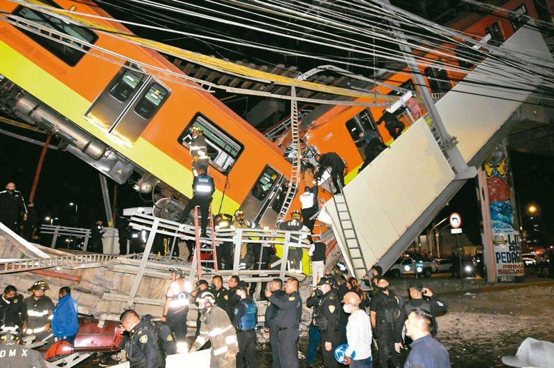 墨西哥市捷運三日發生高架軌道坍塌列車墜落事故,救難人員漏夜在現場搜救。(法新社)