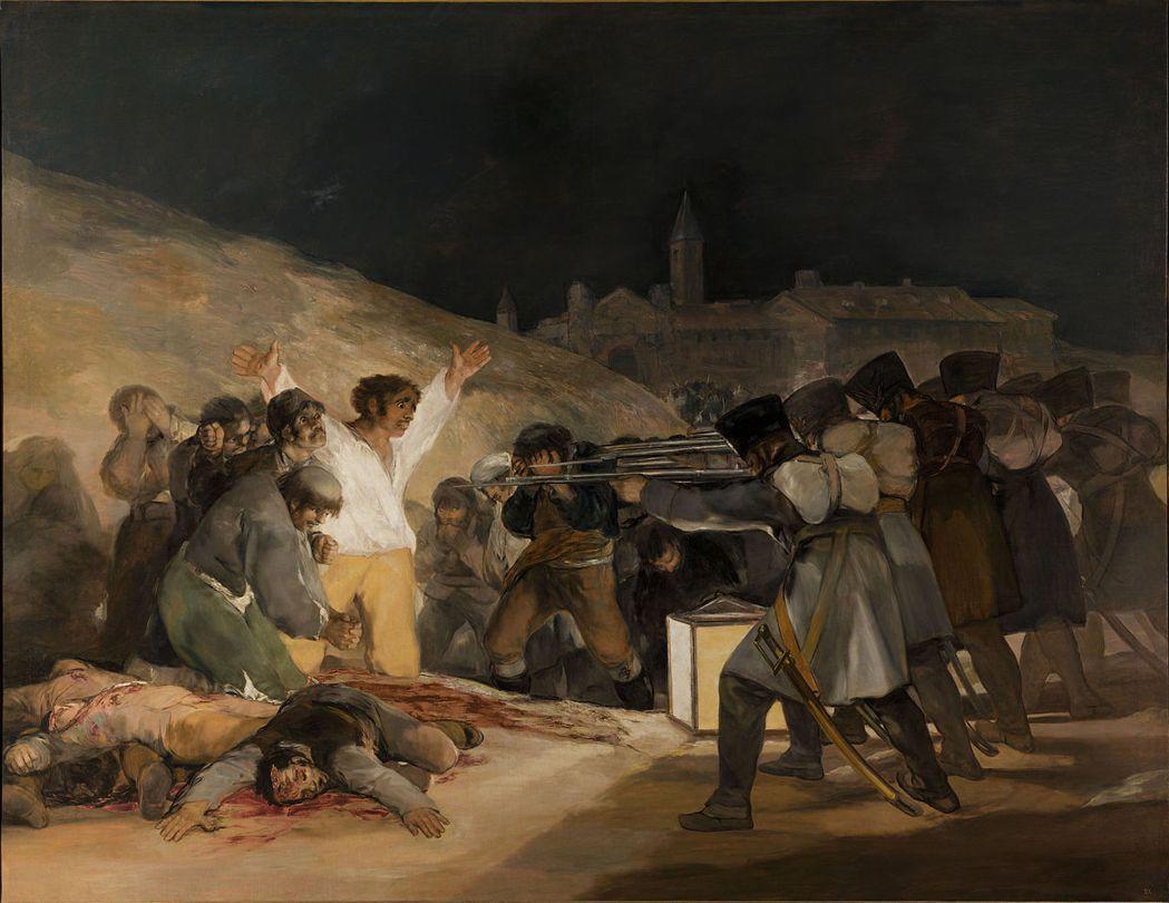圖為《1808年5月3日》,西班牙畫家弗朗西斯科.戈雅描繪法國入侵西班牙的半島戰...