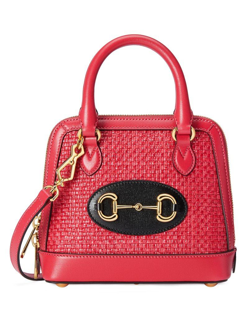 Horsebit 1955 紅色草編手提包,69,800元。圖/Gucci提供
