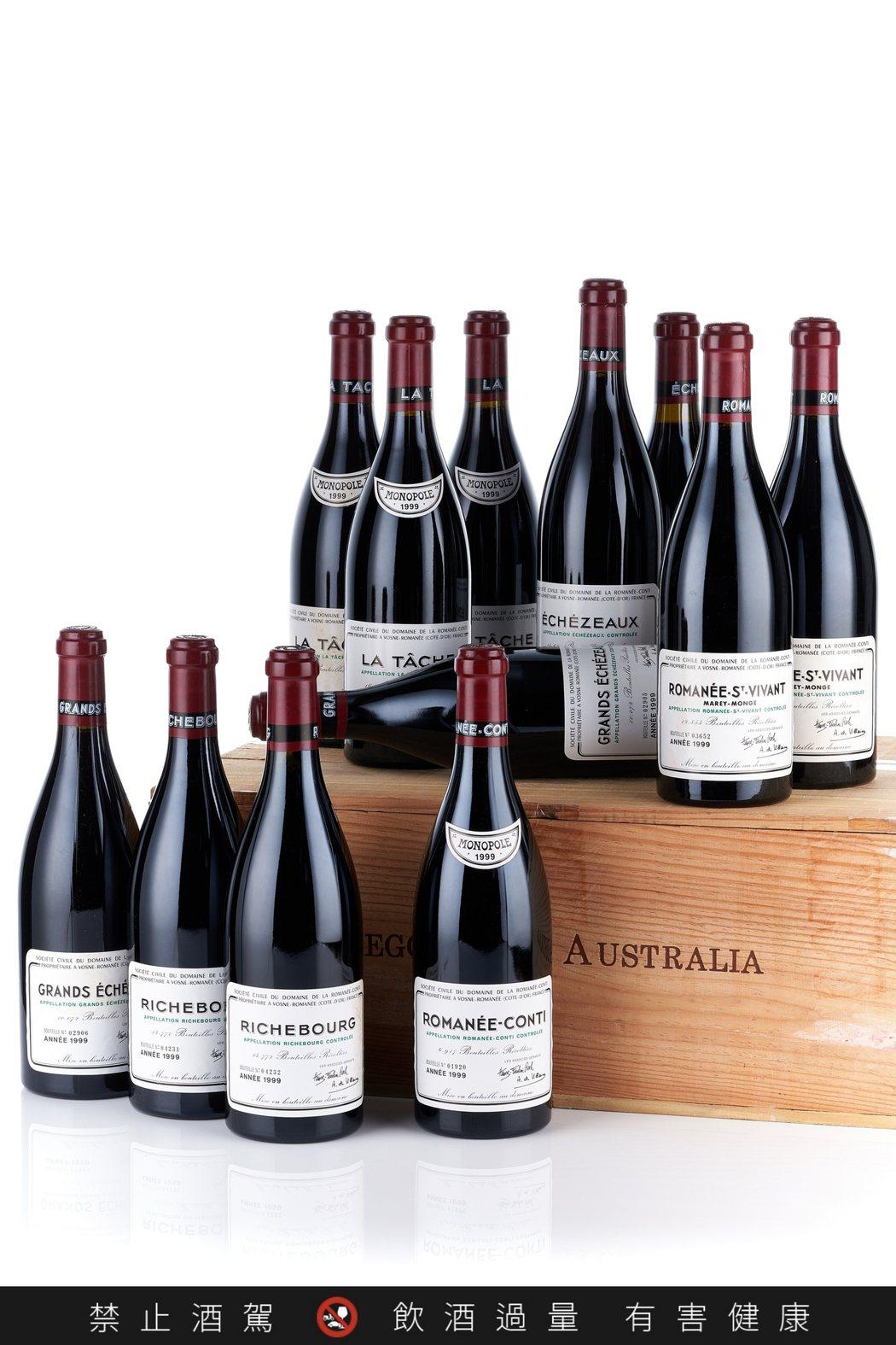 香港邦瀚斯拍品382,原裝木箱12瓶的羅曼尼康帝酒莊套裝1999年,42萬港元起...