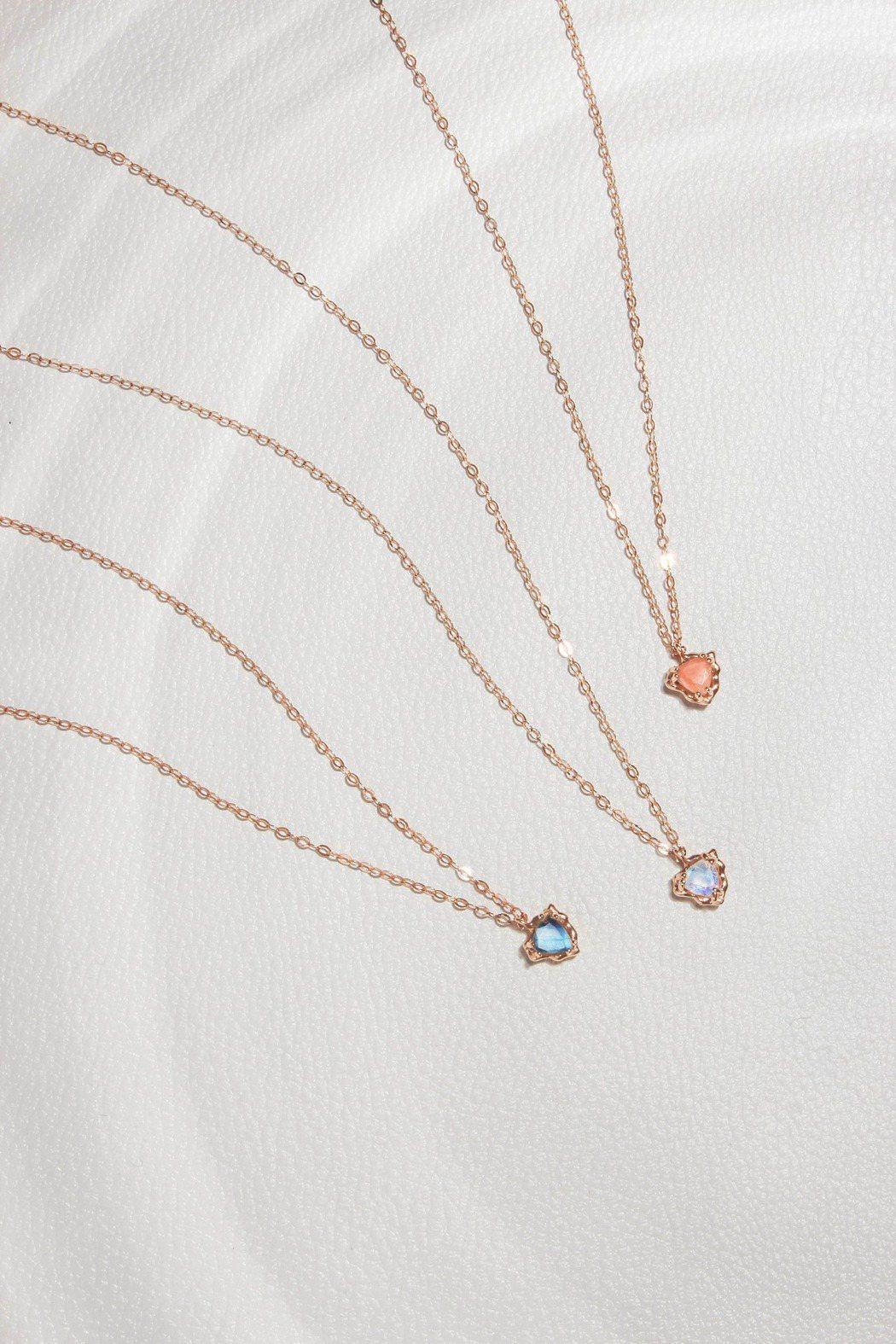 Silver Twinkle 14K金華麗三角蜜桃月光石、彩虹月光石、拉長石項鍊...