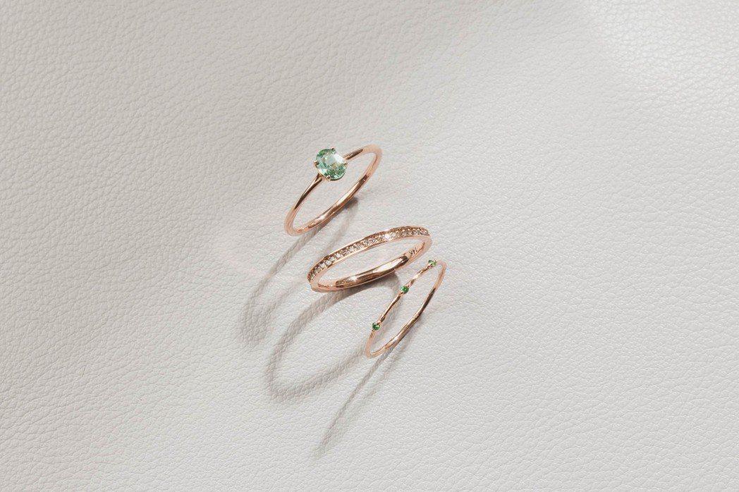 Silver Twinkle 春暖花開系列14K玫瑰金綠剛玉鑲雙排真鑽戒,9,2...