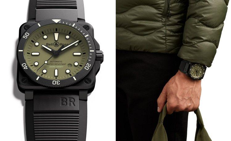 BR 03-92 Diver Military具有橄欖軍綠色的面盤,並以陶瓷為外...