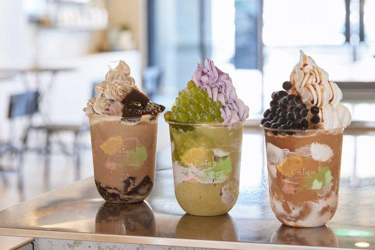 奎克咖啡與飲冰室茶集合作推出3款新飲品。圖/奎克咖啡提供