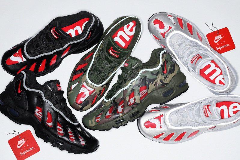 Nike再度和街牌王者Supreme合作,以經典的Air Max 96跑鞋為基礎,創造全新風格。圖/摘自Supreme官網