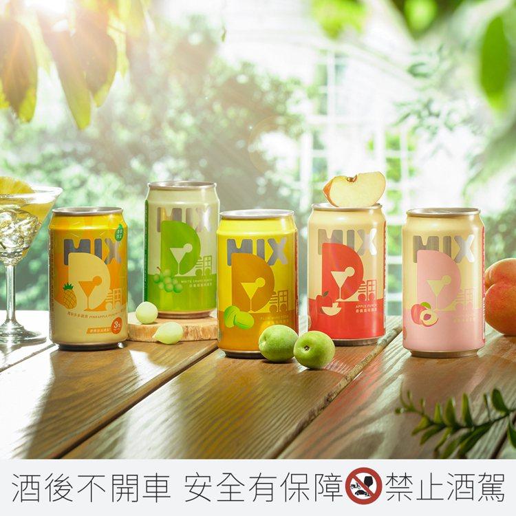 「微醺D調系列」共有鳳梨多多、白葡萄、青梅、香蘋、蜜桃(左起)5種水果風味。 圖...