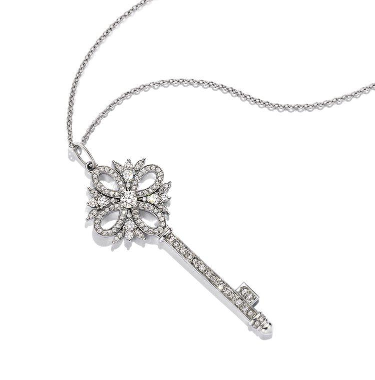 Tiffany Keys鉑金鑲鑽鑰匙鍊墜,25萬4,000元。圖/Tiffany...