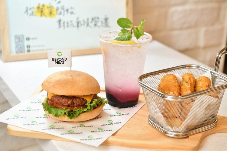 Green Monday X玩響食庫的BBQ未來漢堡。圖/Green Monda...