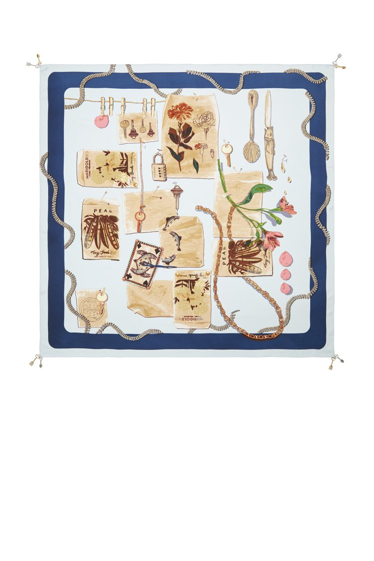 園藝心情木板印花真絲方巾,7,690元。圖/Tory Burch提供