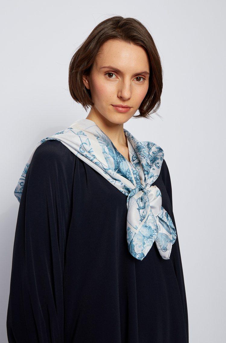 BOSS絲巾設計風格優雅。圖/BOSS提供