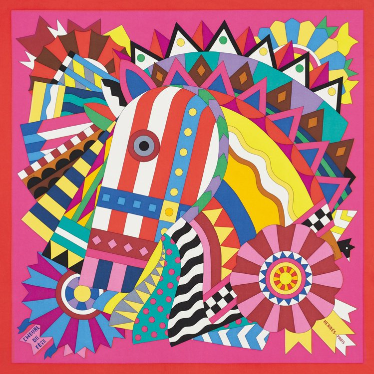 Cheval de fête圖紋印花斜紋真絲方巾,15,600元。圖/愛馬仕提供