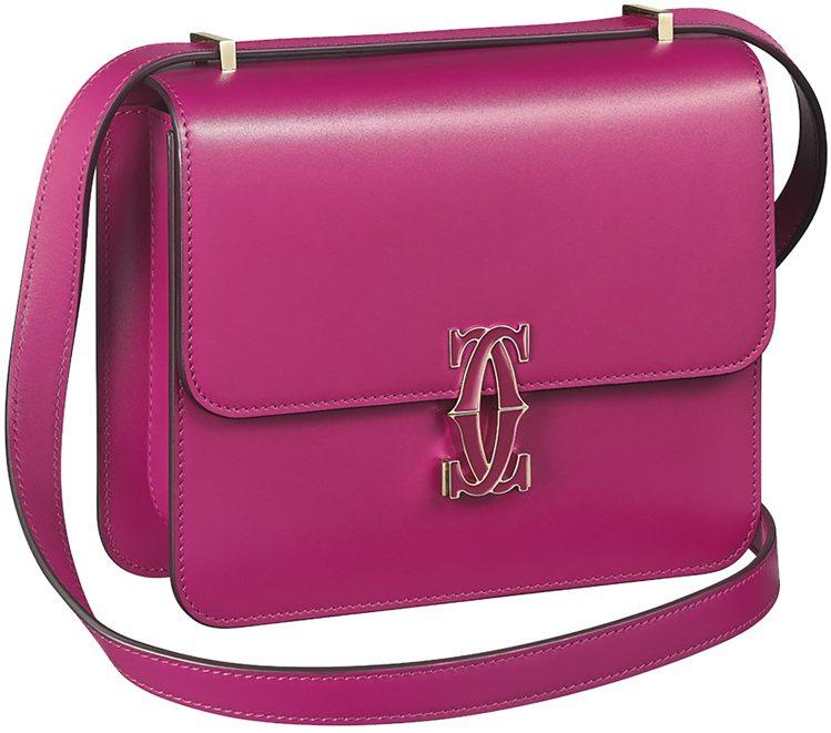 Double C de Cartier系列Mini款,紫紅色小牛皮,約75,00...