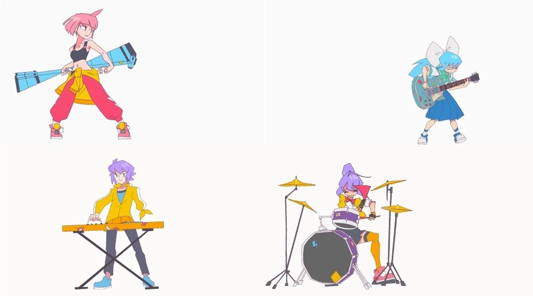 由上至下,由左至右,依序為 Beat、Quaver、Treble、Clef。