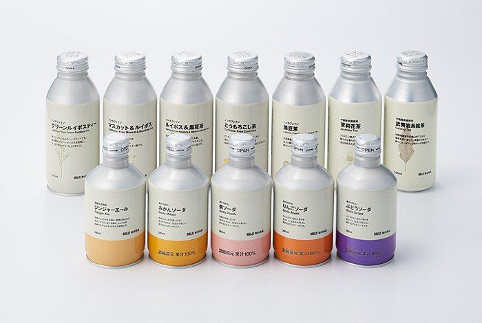 日本無印良品宣布,飲料容器從寶特瓶改為鋁罐。圖/日本無印良品提供