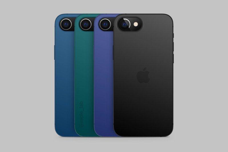 外媒apple Lab揭露iPhone SE 3代將不再具有瀏海設計,且有4種顏色可以選擇。圖擷自@apple Lab
