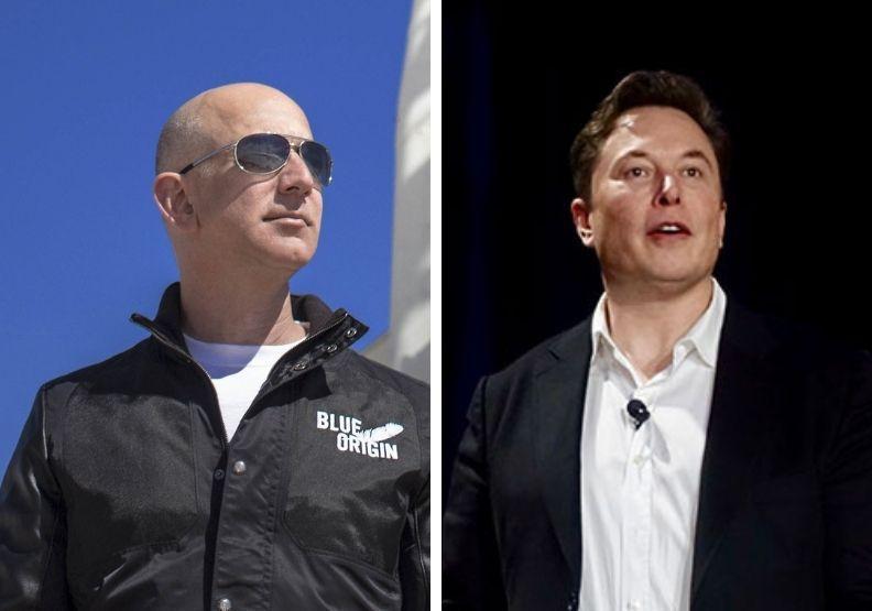 左為貝佐斯、右為馬斯克。圖/BLUE ORIGIN官網、Flickr, Stev...
