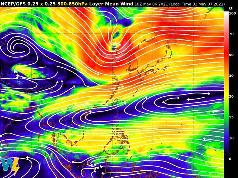 鋒面的位置偏北,當然和高壓異常的位置增強有關係,整體上今年梅雨鋒面位置稍偏北,可能雨量略偏少。圖/取自臉書粉專「氣象達人彭啟明」